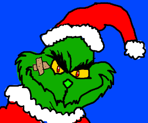 Grinch dressed up as Santa Clause w/ face injury