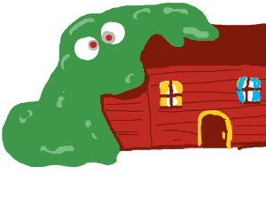 Green cross-eyed slime monster absorbs house.