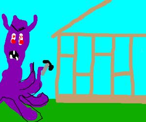 Purple monster building homes