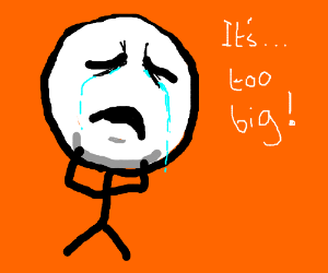 A really sad big-head-man crying