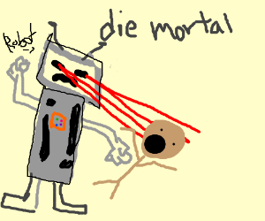 Robot beats up a mortal