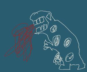 Cow/t-rex hybrid puking blood.