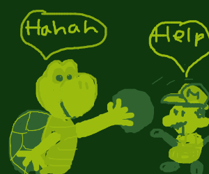 Koopa troopa aims on mario