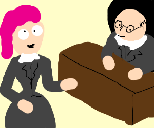 Derpy pink-haired lady talks to her boss.