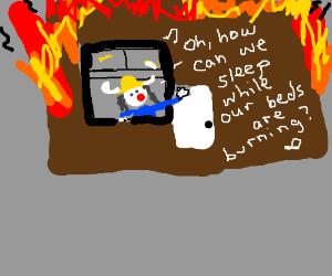 Elderly viking sings in a burning house