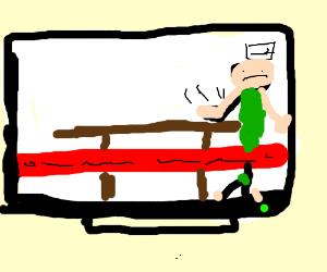 Angry man slams table on news.