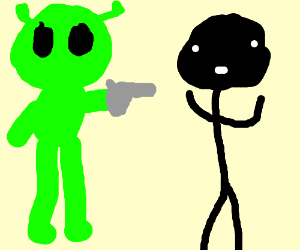 Alien robs a black guy