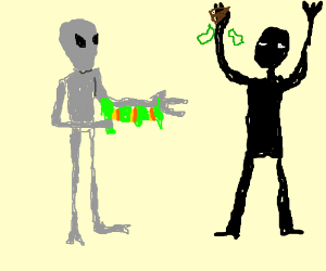 Alien mugging a black guy