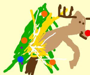 reindeer went through the christmas tree
