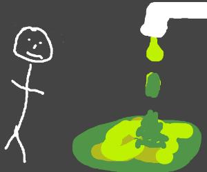 Guy admiring green slime