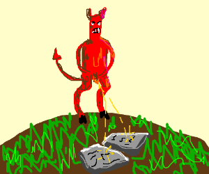 Devil weeing on the 10 Commandments