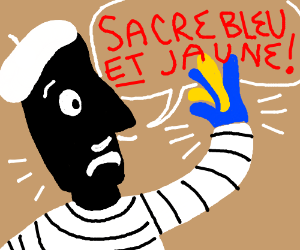 french dude has weird blue/yellow hand