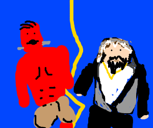 Red Frankenstein's monster vs. Hebrew rapper