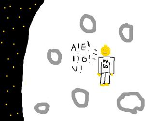 Lego nasa man on the moon yells vowels