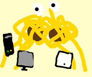 spaghetti monster stealing electronics