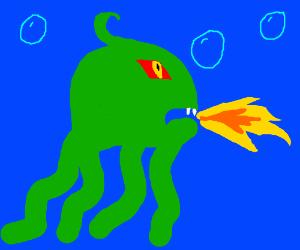 A fire-breathing demon squid!!
