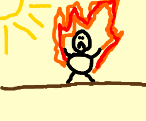 a guy is set on fire 'cause the heat