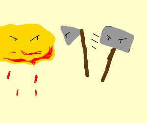 Hammer and Axe fight vs. a bloody yellow cloud