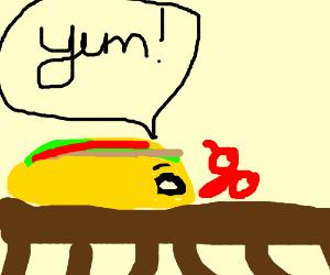 A living taco eats scissors