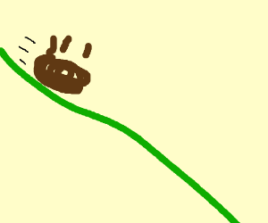 Poo rolling down a hill