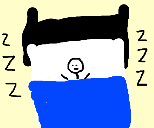 someone sleeping in a bed