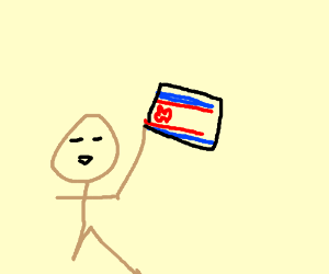 asian man holding a north korean flag