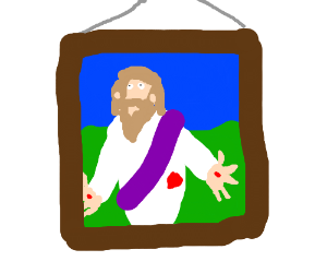 Jesus in the frame.