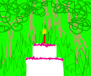 giant cake in open area of bright green forest