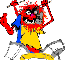 The muppet Animal as Terminator