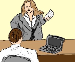 Female office worker talking with boss.