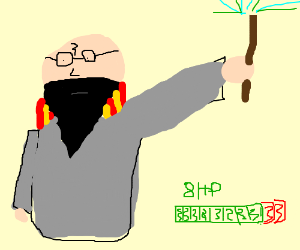 bald harry potter with a thick beard has 8 HP