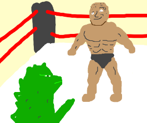 Godzilla wrestles The Rock