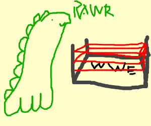 green dino outside wrestling ring (wwe)