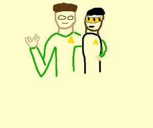 Spock in green shirt hugging Geordi La Forge