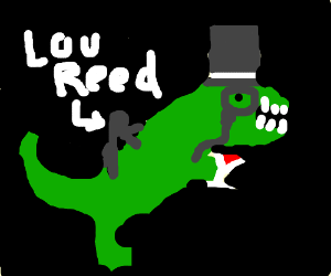 Lou Reed riding a fancy T-rex in space