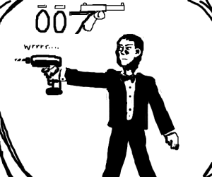 james bond mistakes electric drill for gun
