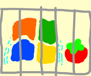windows logo cries with a tomato in a cage