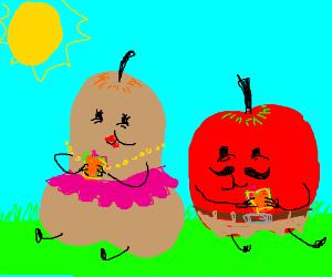 Miss pear and Mr apple eats sandwich