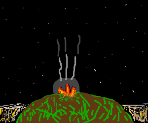 Abandoned hilltop campfire