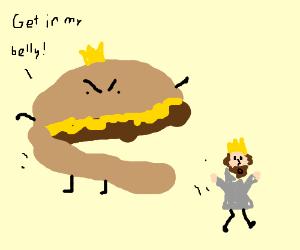 King Cheeseburger Eats The Burger Mascot