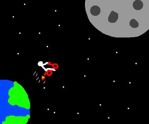 Boy flies his rocket bike to the moon