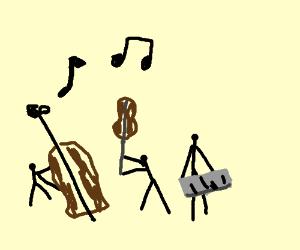 3 stick figures having musical fight