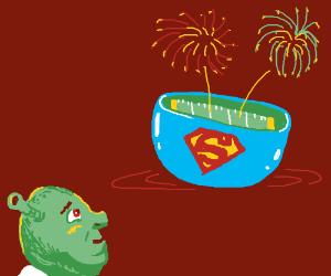 Shrek watching fireworks at the Superbowl.