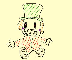 creepy doll: purple cheeks,green hat, red body