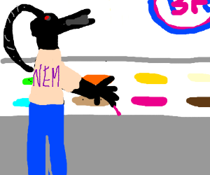 Nemesis the Warlock visits Baskin Robbins.