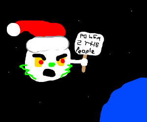 Moon Grinch holds a protest