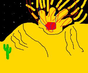 An explosion in a black desert