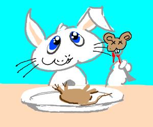 Cute rabbit eats mouse
