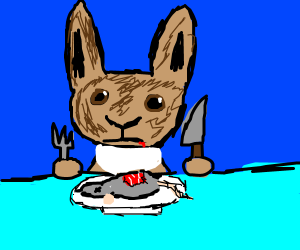 Bunny eats raw mouse for dinner