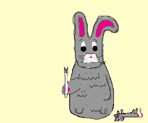 A rabbit is not pleased with his rat dinner.